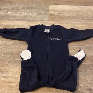 Calvin Klein size 18 month fleece  footed onesie